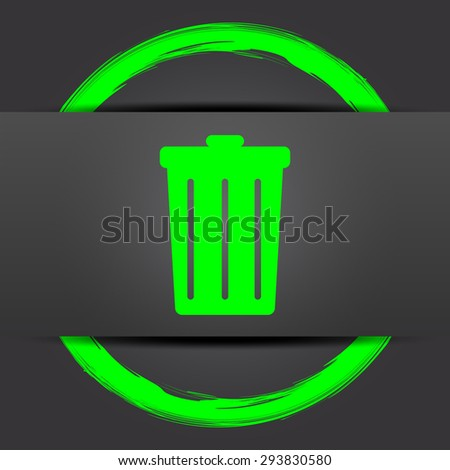 Bin icon. Internet button with green on grey background.  - stock photo