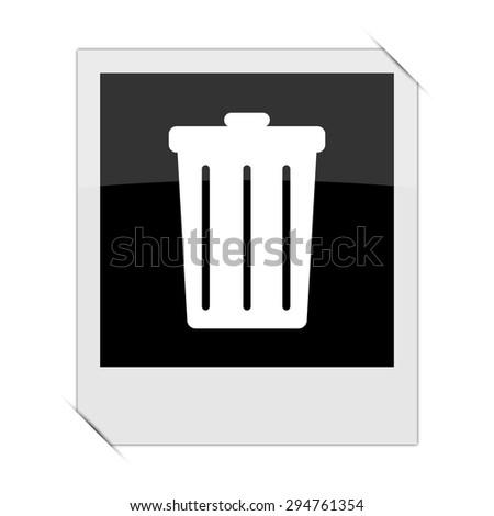 Bin icon within a photo on white background  - stock photo