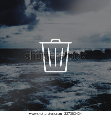 Bin Trashcan Waste Garbage Junk Icon Concept - stock photo