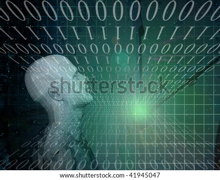 Binary Abstract with Figure - stock photo