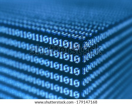 Binary background with depth of field. Concept of technology.