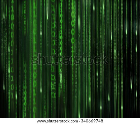 Binary Code and Matrix style lettering in green.