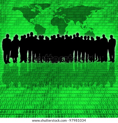 binary code background and business people silhouette