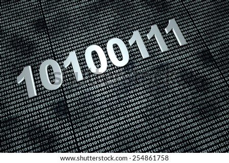 Binary code background. 3D Illustration.