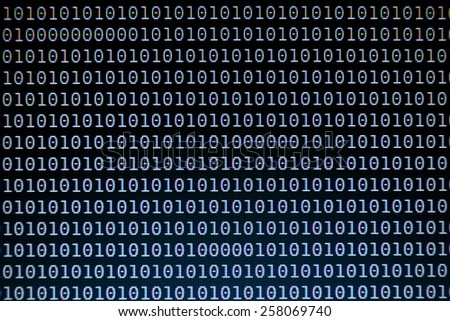 Binary Code Background on Computer Screen - stock photo