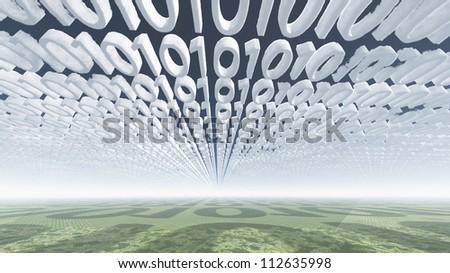 Binary code clouds - stock photo