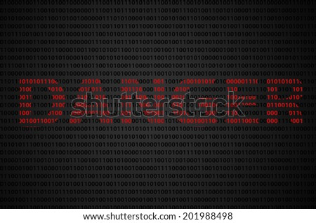 """Binary code concept with """"DANGER"""" text appear on red binary code  - stock photo"""