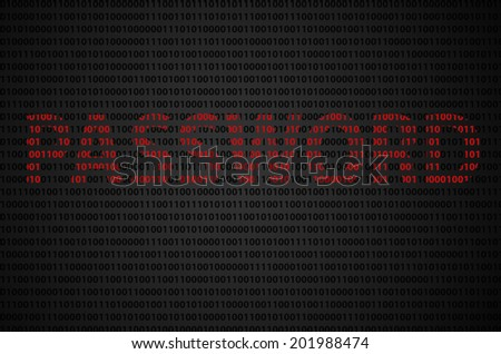 """Binary code concept with """"PASSWORD"""" text appear on red binary code  - stock photo"""