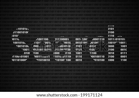 """Binary code concept with """"Search"""" text appear on white binary code - stock photo"""