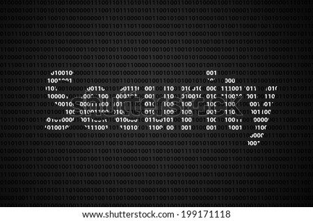 """Binary code concept with """"Security"""" text appear on white binary code - stock photo"""