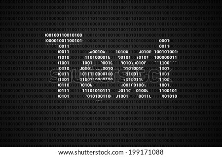 """Binary code concept with """"Text"""" text appear on white binary code - stock photo"""