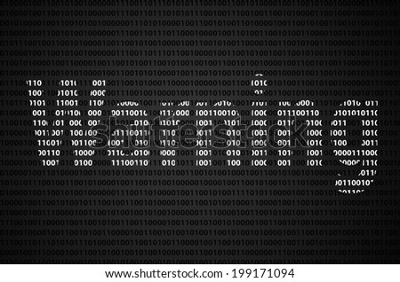 """Binary code concept with """"Warning text appear on white binary code - stock photo"""