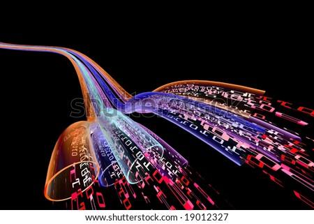 binary code data flowing through optical wires. Halucinogenic version. - stock photo