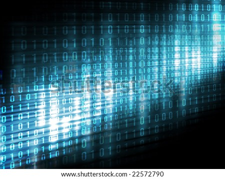 Binary code, data steam, technology background - stock photo