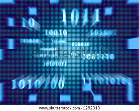 Binary code in a fast zoom of the movement. - stock photo