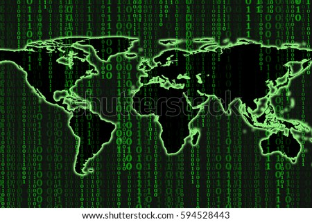 Binary code motion green and black background with world map on screen, Concept of business digital age. Algorithm binary, data code, decryption and encoding, row matrix, illustration background.