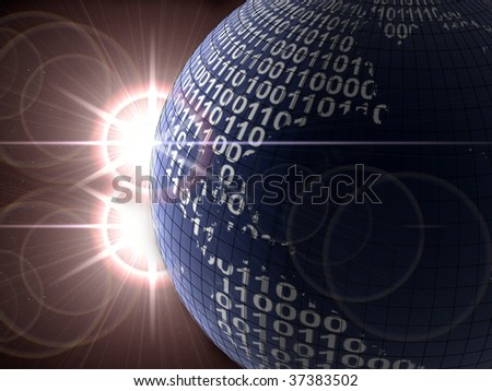 Binary code on a surface of a planet