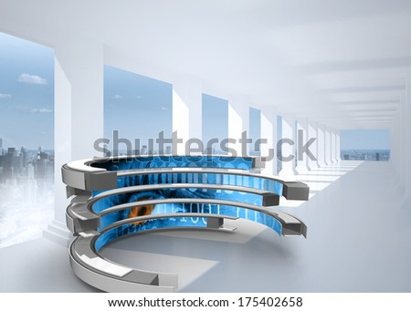 Binary code on abstract screen against bright white hall with columns - stock photo