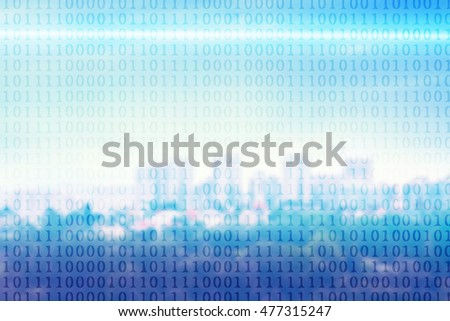 Binary code on blurred cityscape background.