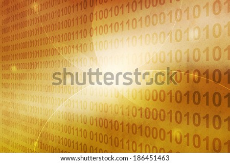 binary code on grunge brown background with line and curve