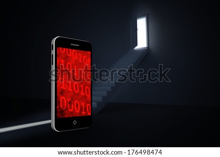 Binary code on smartphone screen against door opening revealing light at top of steps