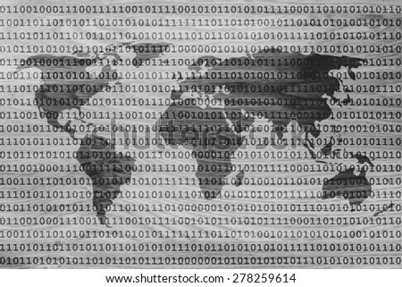 binary code pattern creating the map of the world - stock photo