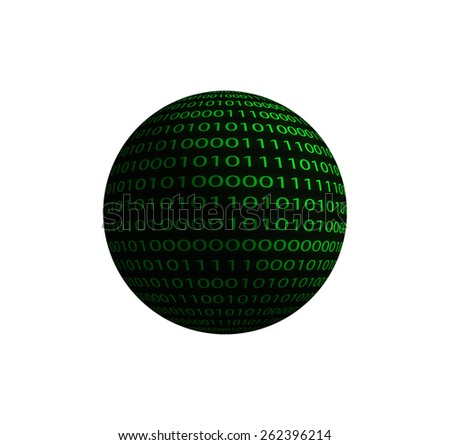 Binary code sphere isolated on a white background.  - stock photo