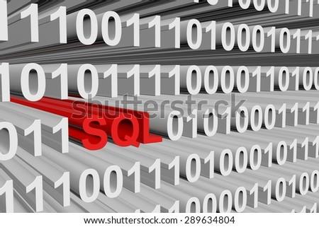 binary code sql  - stock photo