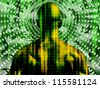Binary code streaming with gears and man - stock photo