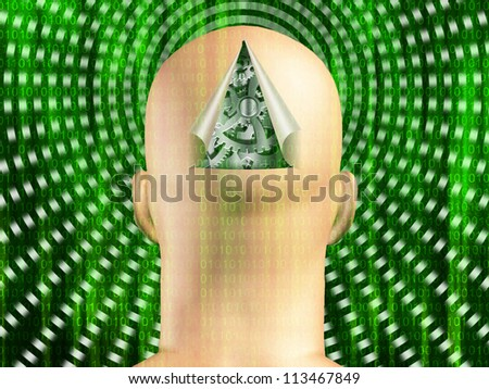 Binary code streaming with gears in mans head