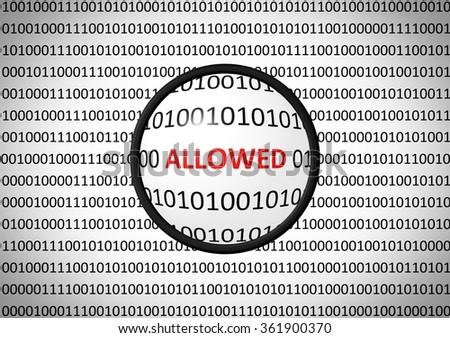 Binary code with ALLOWED ACCESS and magnifying lens on white background - stock photo