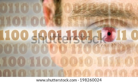 Binary code with close up of human eye in the background. - stock photo