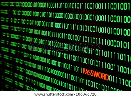 binary code with password text theft - stock photo