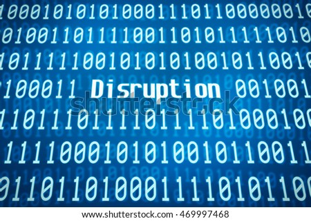 Binary code with the word Disruption in the center