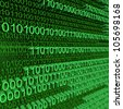 Binary code zeros and ones creating background on green - stock photo