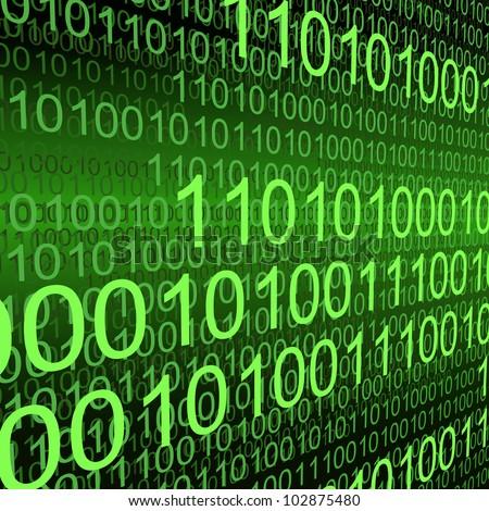 Binary code zeros and ones creating green background - stock photo
