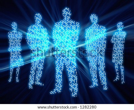 Binary digit of people. - stock photo