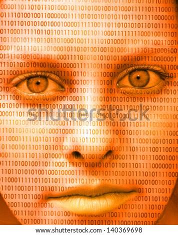 Binary face - stock photo