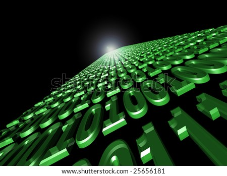 binary flow of data communication. zero and ones float through cyberspace - stock photo
