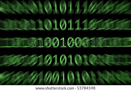 Binary numbers, zeros and ones, in green on a black computer monitor with a zoomed motion blurr - stock photo