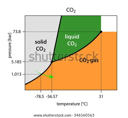 Binary Phase Diagram Co 2 Carbon Dioxide Stock Illustration