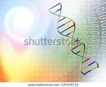 Binary tunnel and DNA Strand - stock photo