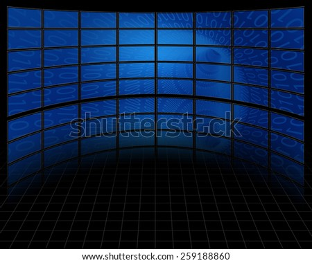 Binary Tunnel on Large Set of Screens - stock photo