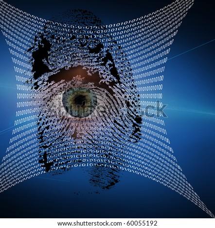 Binary web and fingerprint with human eye - stock photo