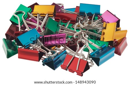 Binder clips for paper. All of the objects in focus. Objects isolated on white background without shadows