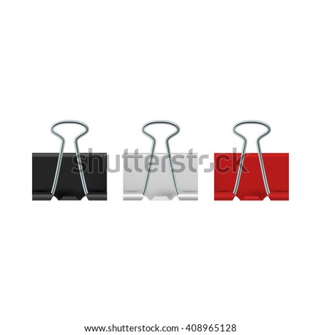 Binder clips icon, realistic style  - stock photo