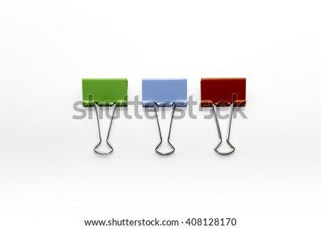Binder clips, isolated on white - stock photo
