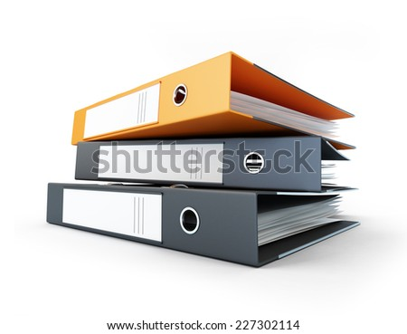 binder, office folders on a white background  - stock photo