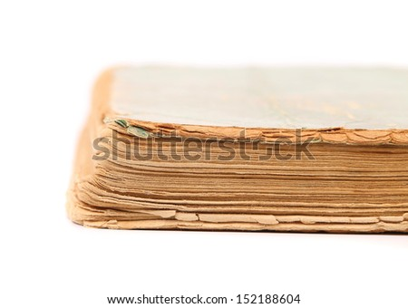 Binding of old book. Close up. - stock photo