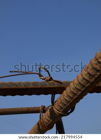 binding rebar before concreting, reinforcing steel bars - stock photo